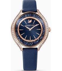 orologio crystalline aura, cinturino in pelle, azzurro, pvd oro rosa