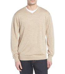 men's big & tall cutter & buck douglas merino wool blend v-neck sweater, size 2xb - grey