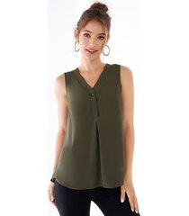 yoins botón verde militar diseño camiseta sin mangas con cuello en v