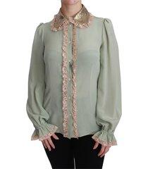blouse van zijde met lovertjes