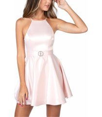 b darlin juniors' embellished halter fit & flare dress