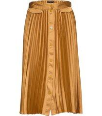 pleated midi skirt with placket knälång kjol gul scotch & soda
