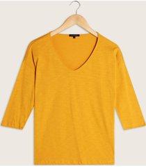 camiseta unicolor manga 3/4 con cuello v-l