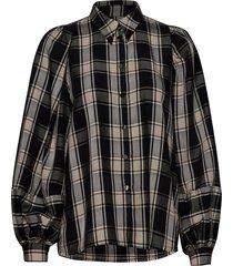 tegan white organic cotton shirt overhemd met lange mouwen zwart mother of pearl