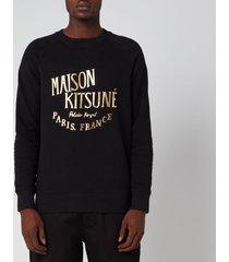 maison kitsuné men's palais royal sweatshirt - black/gold - xl
