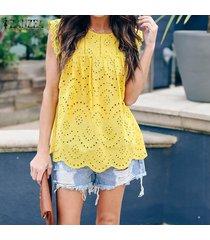 zanzea para mujer de la playa del verano tapas del tanque del cordón de las señoras o-cuello del chaleco de la camisa -amarillo