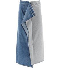 mm6 maison margiela bi-material skirt