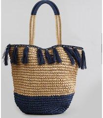bolsa de praia feminina shopper de palha com tassel caramelo