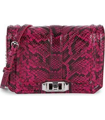 rebecca minkoff women's small chevron quilted snake-embossed leather crossbody bag - dark raspberry