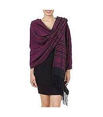 zapotec cotton rebozo shawl, 'mexican rose' (mexico)