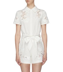 'lanna' belted guipure lace panel rompers