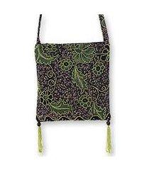 beaded cotton batik shoulder bag, 'midnight java' (indonesia)
