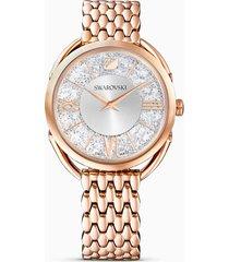 orologio crystalline glam, bracciale di metallo, bianco, pvd oro rosa