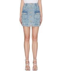 panelled button front denim mini skirt