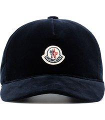 moncler appliquéd velvet baseball cap - blue