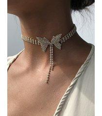 butterfly rhinestone bow choker necklace