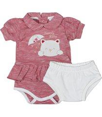 conjunto de bebê curto tapa fralda creme e body vermelho vermelho