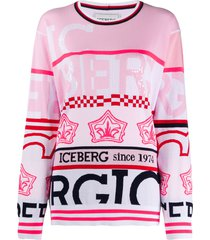 iceberg striped all over print sweatshirt - pink