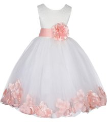 satin bodice floral lace ivory flower girl dress bridesmaid wedding pageant 165s