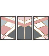 conjunto kit 3 quadro oppen house s 60x120cm escandinavo visby com vidro e moldura preta      quadro oppen house s decorativos - preto - dafiti