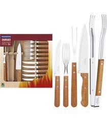 kit para churrasco tramontina em aço inox com cabo de madeira natural 15 peças 22399028