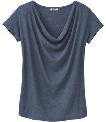 shirt met watervalhals, oceaan 36/38