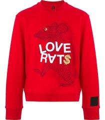 blackbarrett graphic print cotton sweatshirt - red