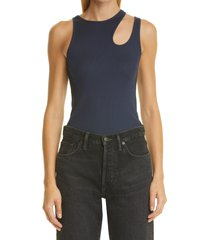 k.ngsley unisex romain cutout ribbed tank, size x-small in navy at nordstrom