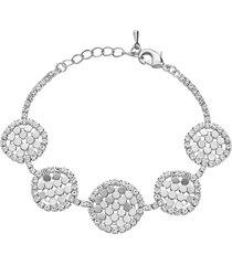 bracciale con strass e dettagli circolari in metallo rodiato color argento per donna