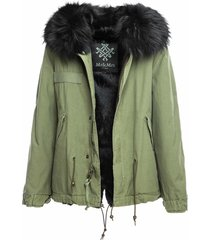 mr & mrs italy army cotton canvas mini parka with dyed lapin fur lining