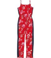 macacão estampado floral recortes malwee vermelho - pp