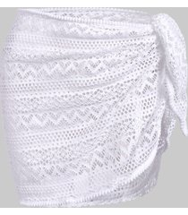 openwork solid cover up skirt