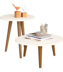 conjunto para sala de estar lyam decor mesa de centro e lateral off-white - off-white - dafiti