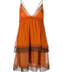 alberta ferretti v-neck tiered mini dress - orange