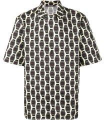 roberto cavalli watch print button-up shirt - neutrals