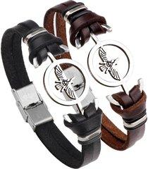 monili degli uomini del braccialetto del cuoio genuino di fascino dell'acciaio inossidabile di fascino di modo