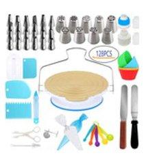128pcs cake decoration kit turntable pastelaria fondant ferramenta asse sobremesa tools