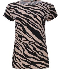 camiseta beige estampado rayas diagonales color café, talla s