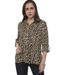 blusa camisera bolsillos manga larga animal print  corona