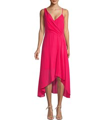 drape high-low midi dress