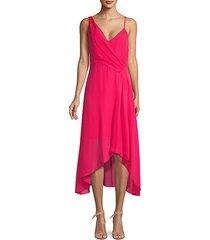 drape high-low midi dress