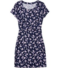 big girls short sleeve all over print front tie dress
