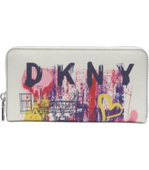 dkny bryant large leather zip-around wallet, created for macy's