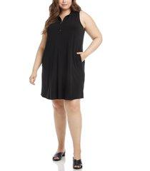 plus size women's karen kane zip-up shift dress, size 3x - black