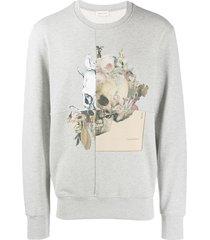 alexander mcqueen patchwork skull sweatshirt - grey