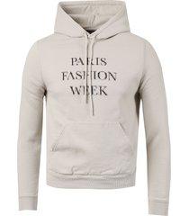 shrunken paris fashion week logo hoodie, cement grey