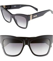 women's moschino 53mm cat's eye sunglasses - black