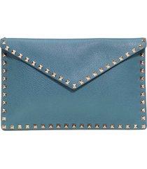 valentino garavani large rockstud leather envelope pouch -