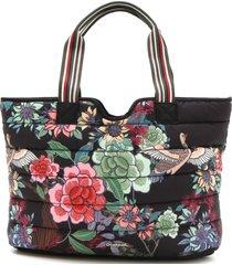 bolsa sacola dupla face desigual floral preta