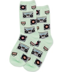 hot sox women's retro music crew socks